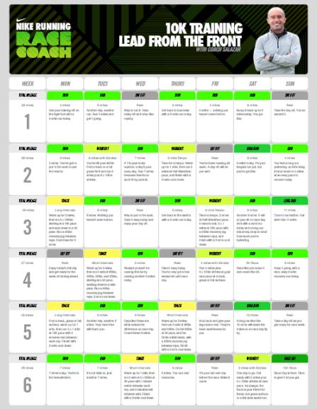 10K_Training_Alberto Salazar_Running_Plan_Nike
