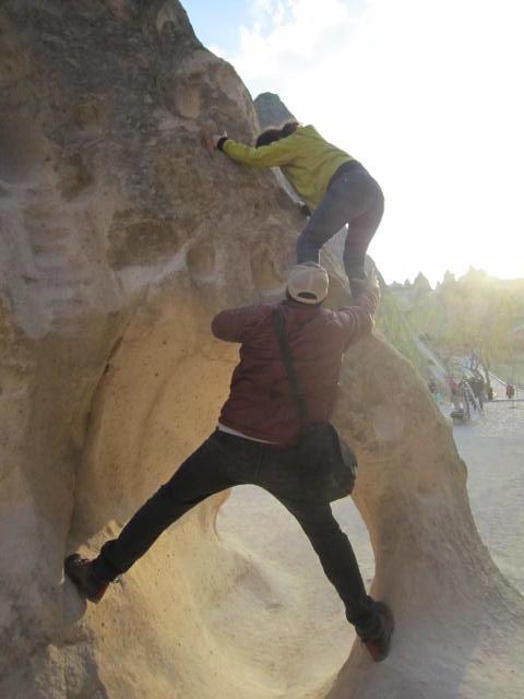 Impromptu climbing lesson