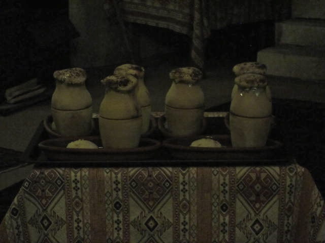 Clay pots holding our succulent beef dinners