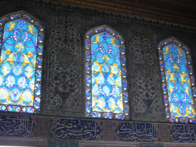 Such detailed stained glass combined with the Arabic writing creating a great statement
