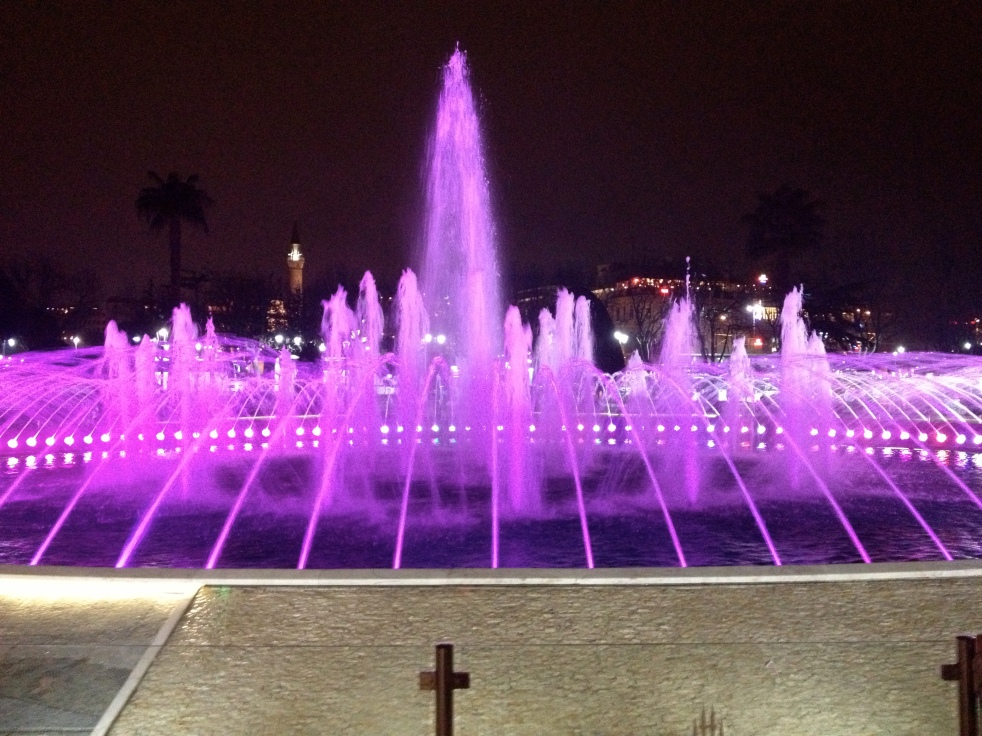 Beautiful Colorful Fountain Between the Two Mosques