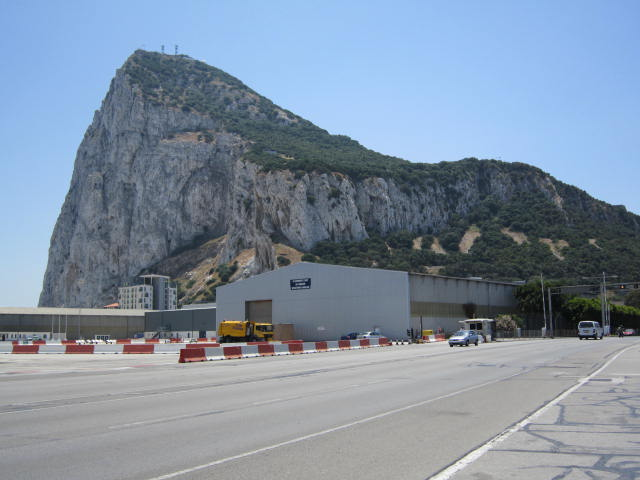 Walking through the airport that passes through the street at the entry into Gibraltar
