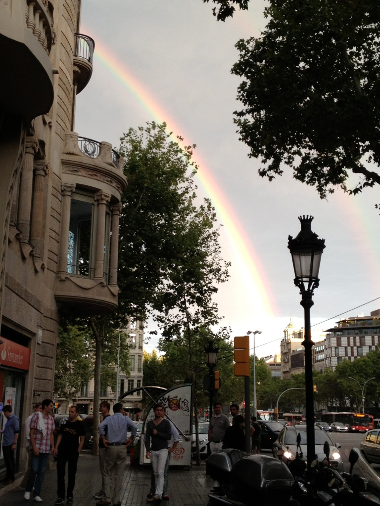 An a beautiful rainbow over Gràcia and Eixample