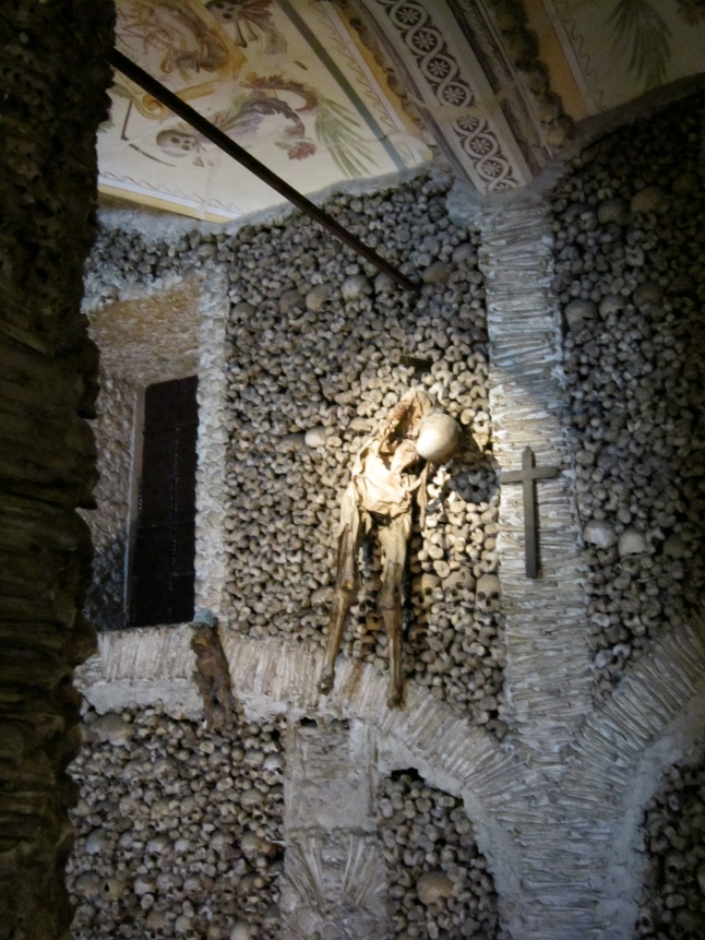 Even a bull skeleton hanging from the walls