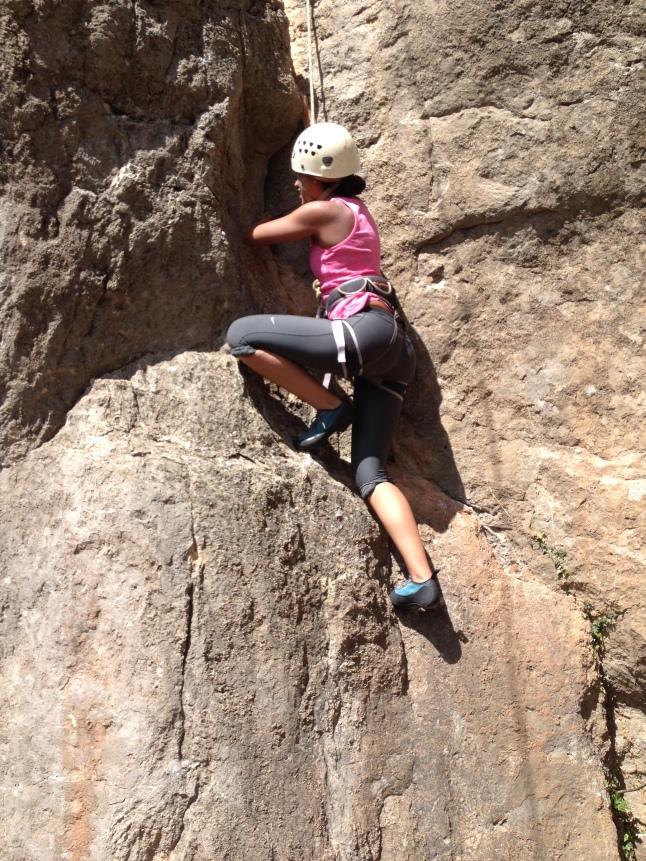 Climbing a little bit of crack
