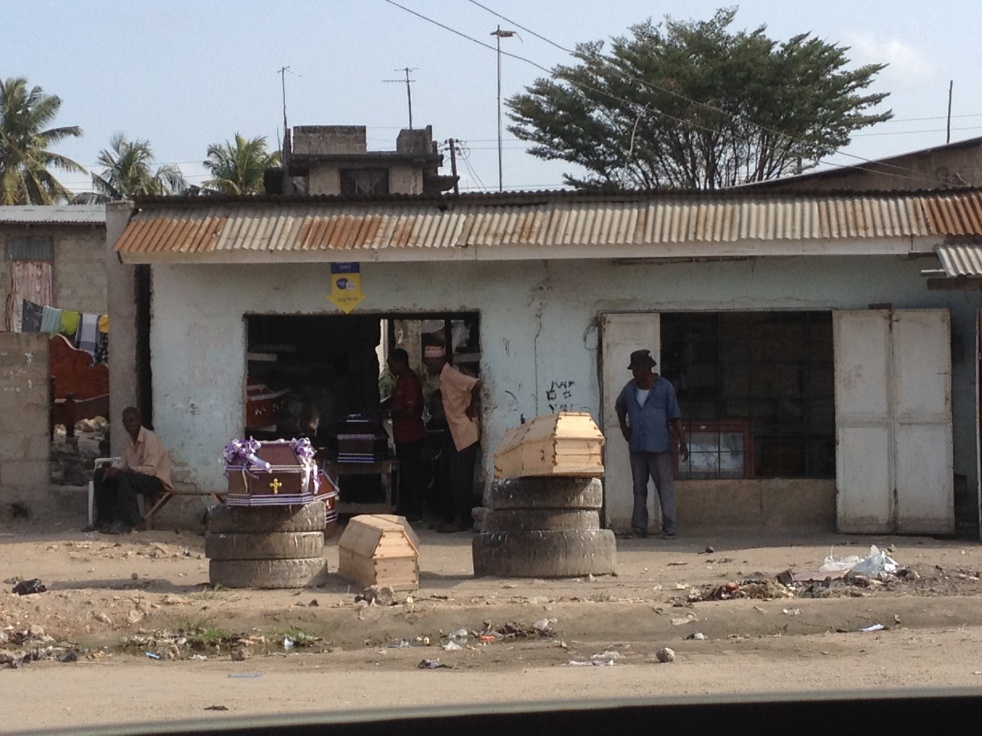 Coffin sales by the side of the road